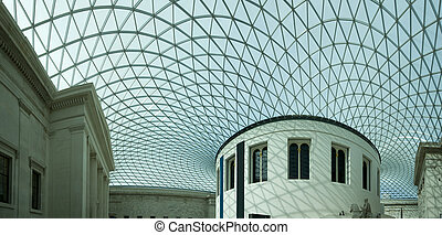 The Great Court, British Museum - Panoramic photograph of...