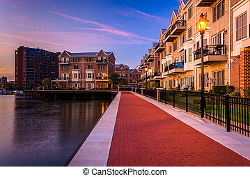 The waterfront in Canton at twilight, Baltimore, Maryland.