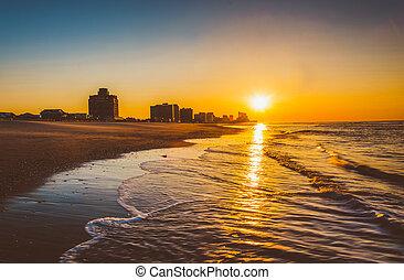 wschód słońca, na, atlantycki, Ocean, Ventnor, Plaża, nowy,...