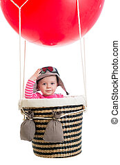 kid with pilot hat on hot air balloon