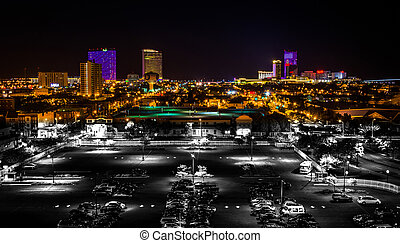 Streets and distant casinos at night in Atlantic City, New...