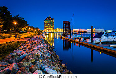 The waterfront at night in Canton, Baltimore, Maryland.