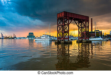Sunset on the waterfront in Canton, Baltimore, Maryland.