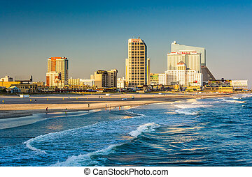 The skyline and Atlantic Ocean in Atlantic City, New Jersey....