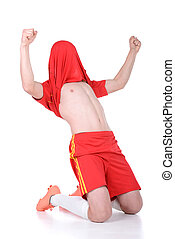 Soccer - Football player celebrating a goal isolated in...