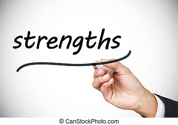 Businessman writing the word strengths against white...