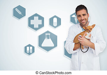 Composite image of happy vet checking dog with stethoscope -...