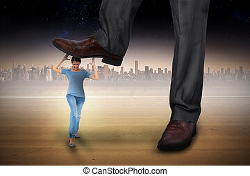 Composite image of businessman stepping on girl against...