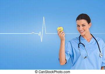 Composite image of happy surgeon holding an apple and...