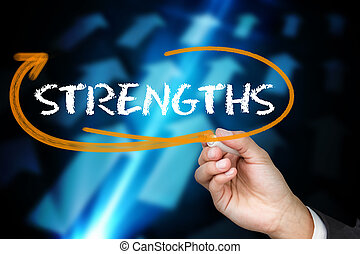 Businessman writing the word strengths against blue arrows...