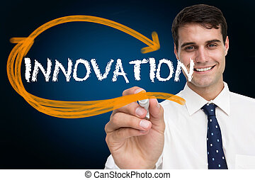 Businessman writing the word innovation against blue...