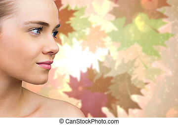 Composite image of smiling blonde natural beauty - Smiling...