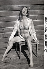 Infrared Photo of Middle Aged Woman in Bra and Panties -...