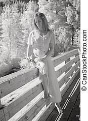 Infrared Photo of Middle Aged Woman in Sexy Dress - Infrared...