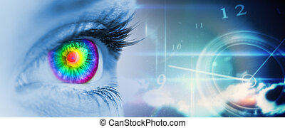 Composite image of pyschedelic eye on blue face -...