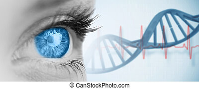 Composite image of blue eye on grey face - Blue eye on grey...