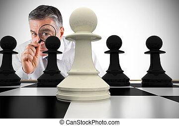 compuesto, imagen, enfocado, hombre de negocios, Aumentar,...