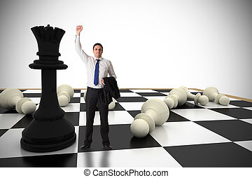 Composite image of businessman cheering - Businessman...