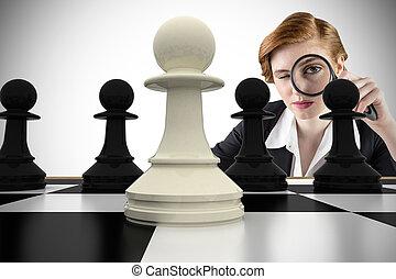 compuesto, imagen, enfocado, mujer de negocios, Aumentar,...