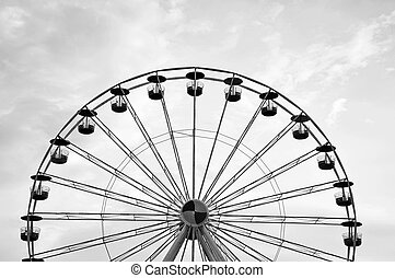 Ferris wheel in black and white.