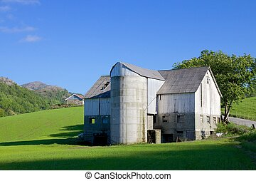 Norwegian Grain Silo - Old grain silo and barn next to a...