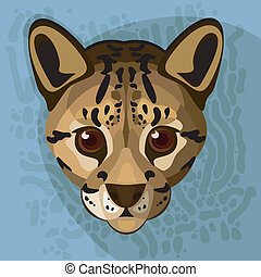 A vector  illustration of an ocelot's face.
