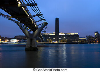 Tate Modern Gallery and Millennium Bridge at night