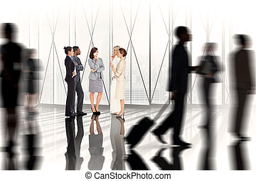 Composite image of business colleagues talking against white...