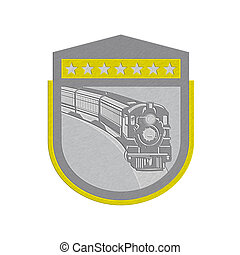 Metallic Steam Train Locomotive Retro Shield - Metallic...