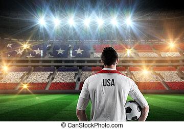 Composite image of usa football player holding ball - Usa...