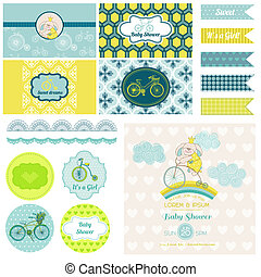 Baby Shower Bunny and Bike Party Set - for Design, Birthday...