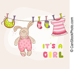 Baby Bunny Shower or Arrival Card - in vector