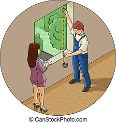 Man and woman measure window