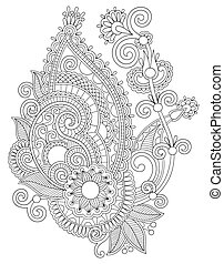 original digital draw line art ornate flower design...