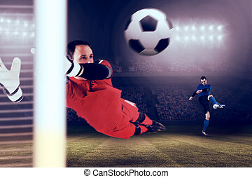 Composite image of fit goal keeper jumping up - Fit goal...
