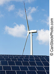 Wind energy turbine with some solar panels for electricity production