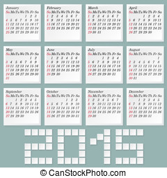 Simple 2015 Calendar. Months Style Notes with Shadows. Week...