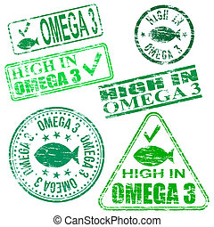Omega Three Stamps - Rectangular and round Omega 3 rubber...