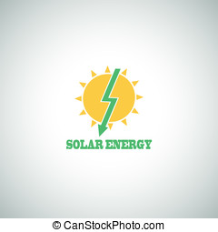 Solar Energy Vector Eco Icon - Solar Energy Symbol Vector...