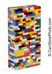 Tower constructed of colorful Lego bricks - Three...