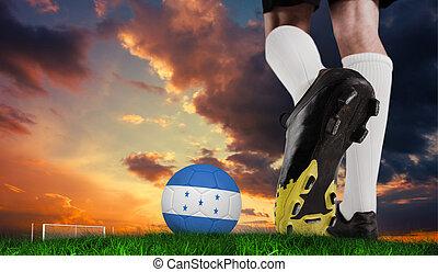 Pelota,  honduras, compuesto, imagen, fútbol, bota, patear