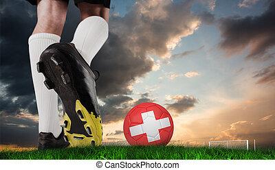Pelota, compuesto, imagen, fútbol, bota, patear, suizo