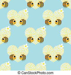 seamless pattern with big flower heart camomile and bee