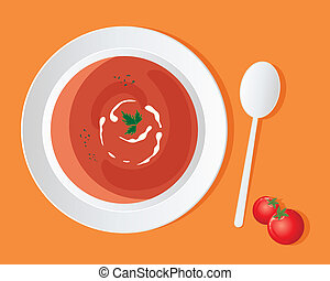 tomato soup - an illustration of a a bowl of delicious...