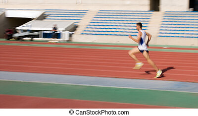 Athlete on running track