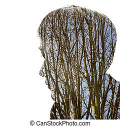 Passepartout - A head as Passepartout against white...