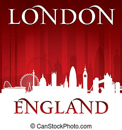 London England city skyline silhouette red background