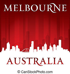 Melbourne Australia city skyline silhouette red background