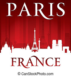 Paris France city skyline silhouette red background