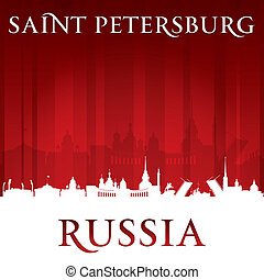 Saint Petersburg Russia city skyline silhouette red...